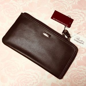 👜Buxton RFID zip wallet, genuine leather